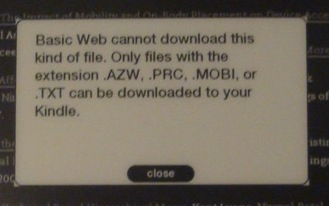 Kindle DX cant download PDF